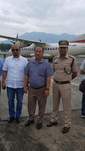 Pasighat airport - test landing of ATR -42 aircraft of Alliance Air on 21/04/2018. My right standing is Shri Kaling Moyong HMLA Pasighat and left is SP Pasighat.
